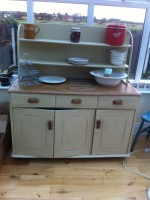 The dresser was painted in 1829 Craig and Rose Pale Oak and waxed with Jacobean oak.